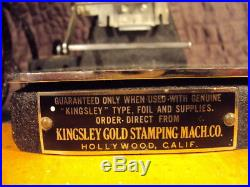 KINGSLEY GOLD, ONE LINE STAMPING / IMPRINTING HOT FOIL MACHINE With MANUAL & COVER