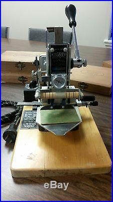 Kingsley Hot Foil Stamping Machine + 3 Boxes of Type + Type Holders -Huge Lot