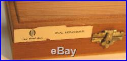 Kingsley Hot Foil Stamping Machine Type Wood Box of 72pt. Oval Monogram 1/3 Size