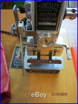 Kingsley Hot Stamping Machine withacc, parts, tools, 7-type fonts, foil, misc
