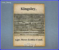 Kingsley Machine Type (14pt. News Gothic Condensed) Hot Foil Stamping Machine
