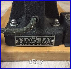 Vintage Kingsley Gold Stamping Machine Hot Foil Made In Hollywood USA